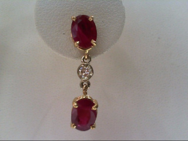 Ruby Gold-Diamond & Stone Earrings 2 Diamonds .26 Carat T.W. 14K Yellow Gold