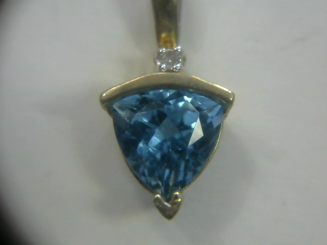 Teal Stone Gold-Diamond & Stone Pendant .01 CT. 10K Yellow Gold 1dwt
