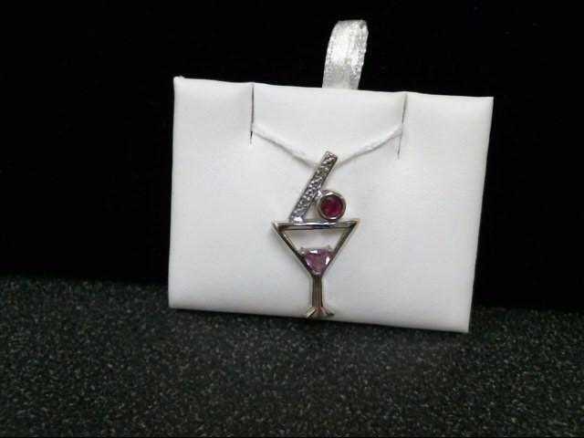 Pink Stone Gold-Diamond & Stone Pendant 2 Diamonds .02 Carat T.W.