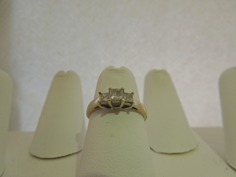 Lady's Diamond Engagement Ring 3 Diamonds .46 Carat T.W. 10K White Gold 1.8g