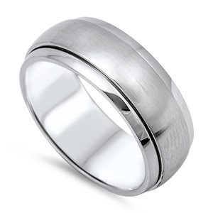 STAINLESS STEEL MATTE FINISH CENTER AND GLOSSY EDGE DOME BAND RING, 8MM