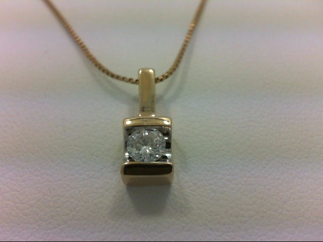Gold-Diamond Solitaire Pendant 0.2 CT. 14K Yellow Gold 2.3g