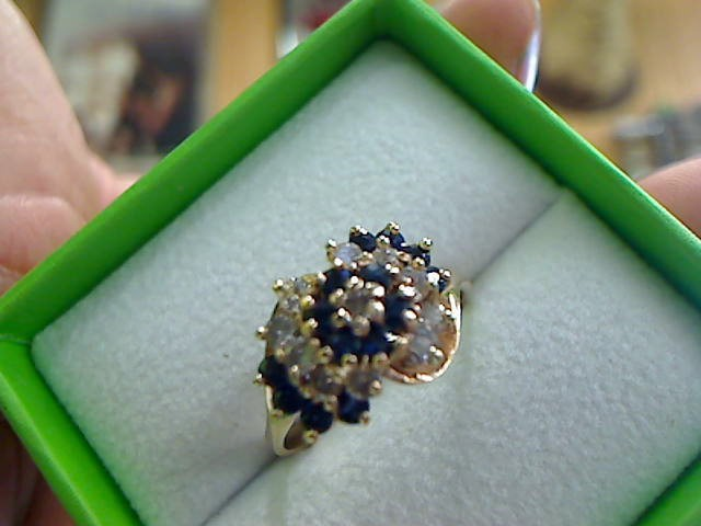 Synthetic Sapphire Lady's Stone & Diamond Ring 11 Diamonds .33 Carat T.W.