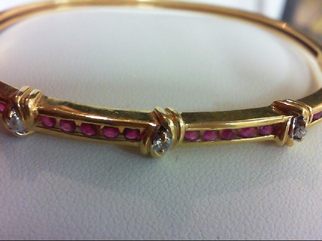 Ruby Gold-Diamond & Stone Bracelet 3 Diamonds 0.06 Carat T.W. 18K Yellow Gold 12