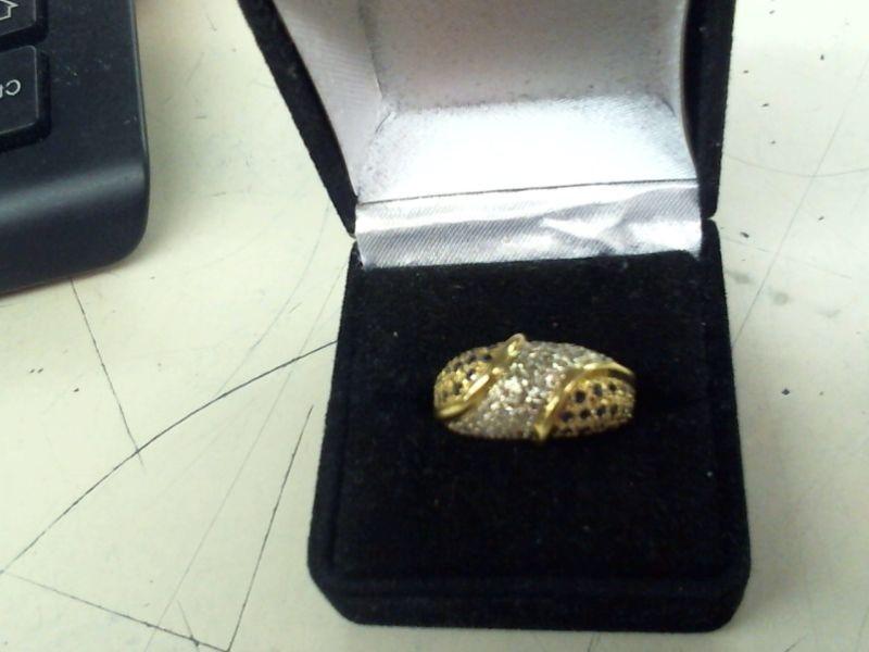 Sapphire Lady's Stone & Diamond Ring 30 Diamonds .30 Carat T.W. 14K Yellow Gold