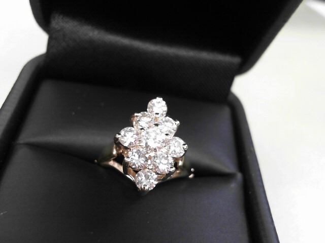 Lady's Diamond Cluster Ring 9 Diamonds 0.99 Carat T.W. 14K Yellow Gold 5.2g