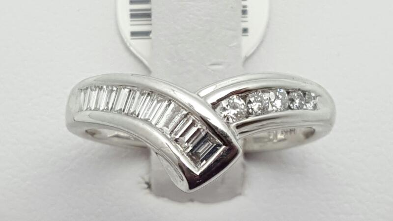 Lady's Diamond Fashion Ring 15 Diamonds .40 Carat T.W. 14K White Gold 3g