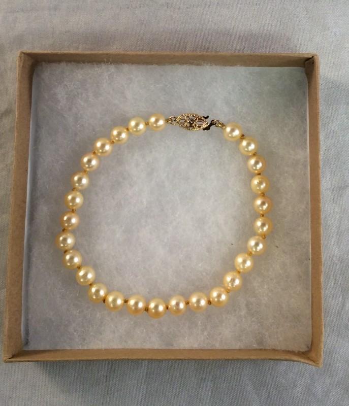 Pearl Strand Gold-Stone Bracelet 14K Yellow Gold 8.28g