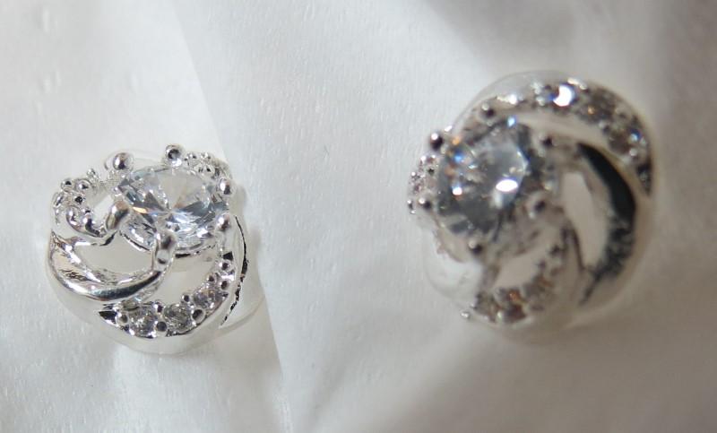 White Clear Crystal Silver Swirls-Clear Stone Post Earrings
