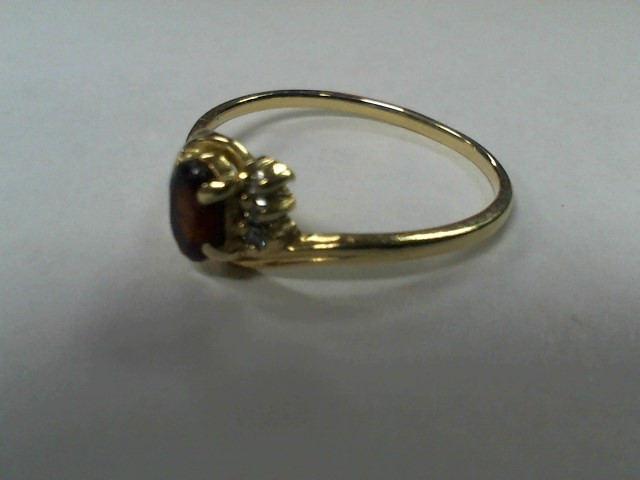 Synthetic Almandite Garnet Lady's Stone Ring 14K Yellow Gold 1.8g Size: 9.5