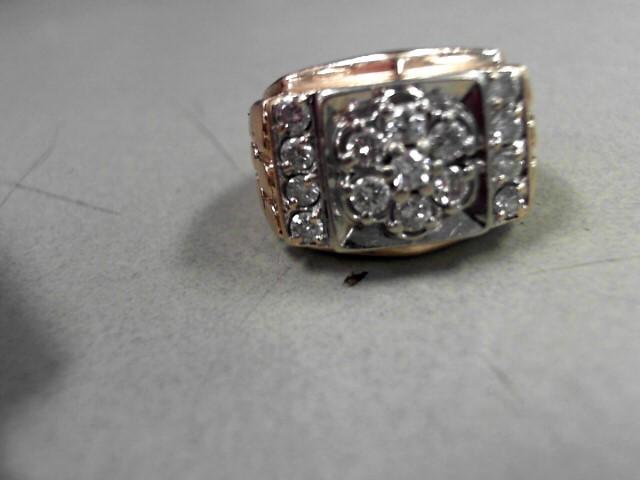 Gent's Diamond Cluster Ring 15 Diamonds 1.05 Carat T.W. 10K Yellow Gold 10.17g