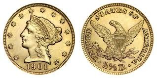 UNITED STATES Gold Coin 1901 2 1/2 DOLLAR QUARTER EAGLE