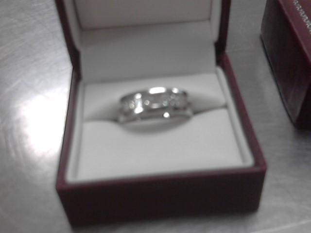 Gent's Gold-Diamond Wedding Band 9 Diamonds 1.15 Carat T.W. 14K White Gold 9.7g