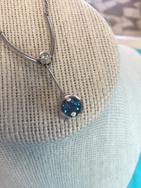 Blue Stone Stone Necklace 14K White Gold 5.2dwt