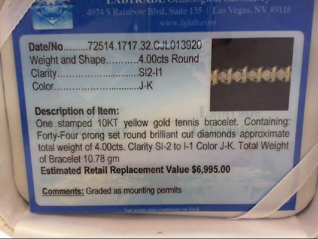 Gold-Diamond Bracelet 44 Diamonds 3.96 Carat T.W. 14K Yellow Gold 10.78g