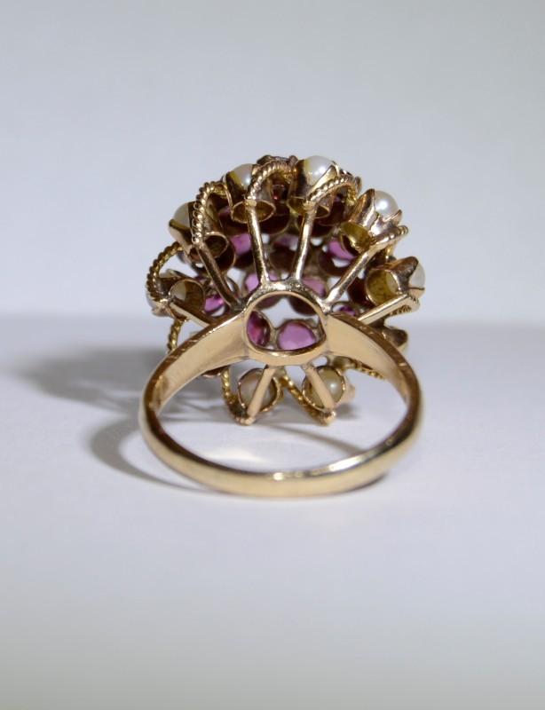 14K Yellow Gold Natural Ruby & Pearl Thai Princess Ring Size 6.25