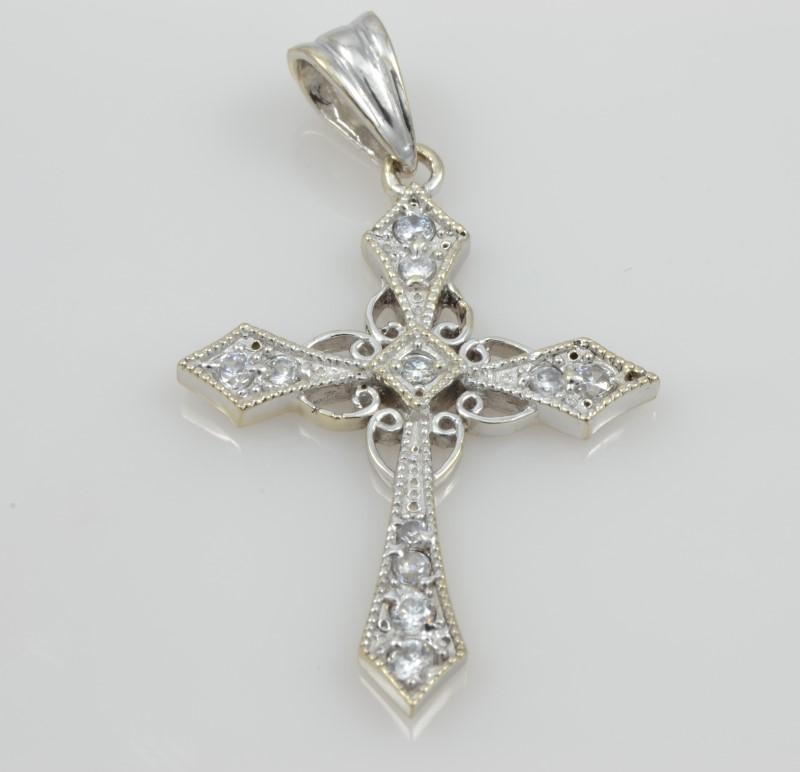 ESTATE DIAMOND CROSS PENDANT CHARM 14K WHITE GOLD FILIGREE CHRISTIAN
