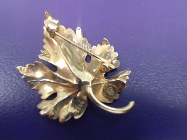 VINTAGE TIFFANY & COMPANY Gold LEAF & PEARL Brooch 14K Yellow Gold 3.1g
