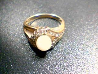 White Stone Lady's Stone & Diamond Ring 22 Diamonds .22 Carat T.W.