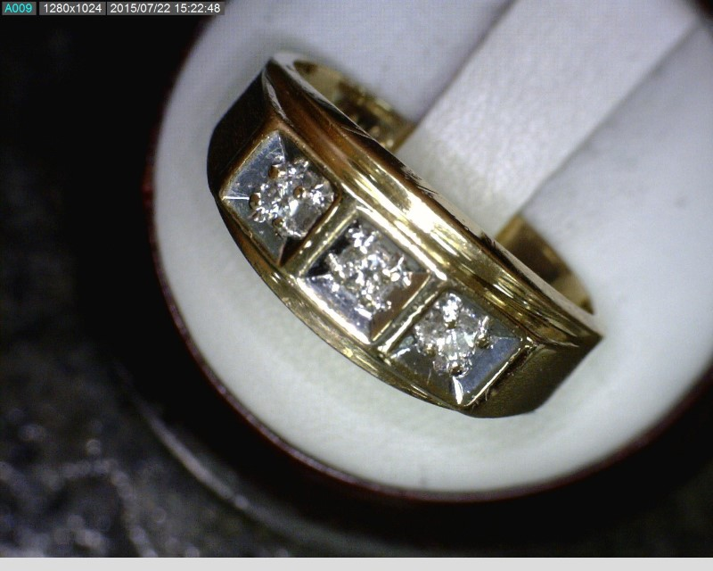 Gent's Diamond Fashion Ring 3 Diamonds .09 Carat T.W. 14K 2 Tone Gold 3.45dwt