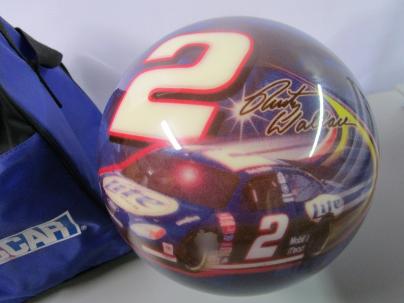 RUSTY WALLACE #2 BOWLING BALL MADE BY BRUNSWICK, UNDRILLED, COLLECTOR'S ITEM