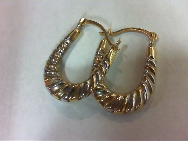 Gold Earrings 10K 2 Tone Gold 0.5g