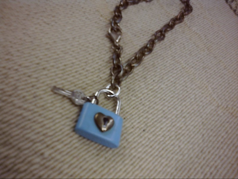 BRACELET JEWELRY JEWELRY; CHARM BRACELET W/BLUE LOCK AND KEY