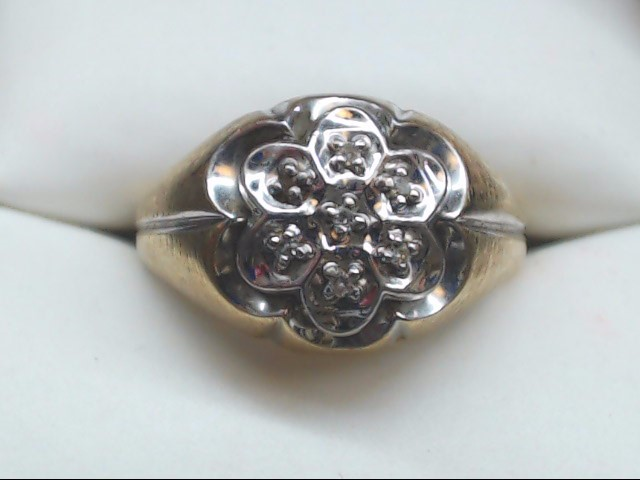 Gent's Diamond Cluster Ring 7 Diamonds .07 Carat T.W. 10K Yellow Gold 4.1g