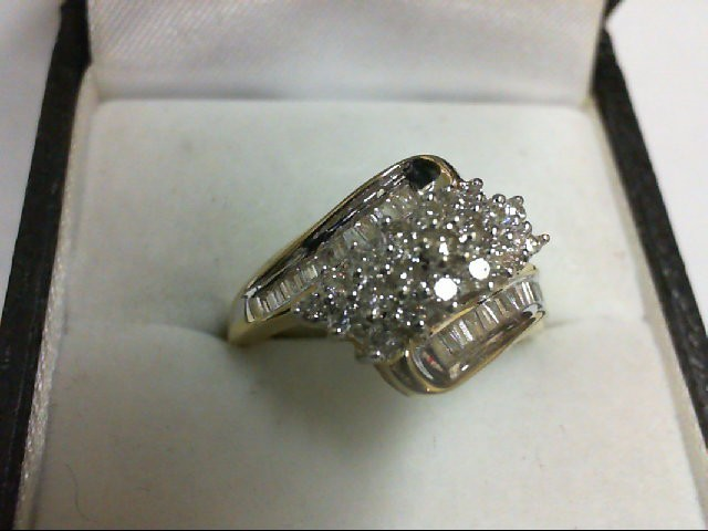 Lady's Diamond Cluster Ring 42 Diamonds 0.42 Carat T.W. 10K Yellow Gold 3.3g