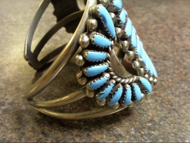 NICKEL SILVER/ TURQUOISE NATIVE AMERICAN BRACELET