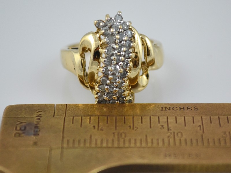 ESTATE DIAMOND CLUSTER RING 10K SOLID GOLD WATERFALL COCKTAIL 7.25