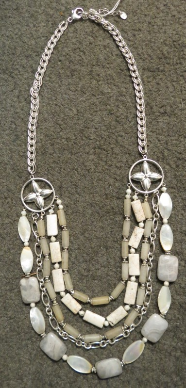 LUC 925 CN Tiered White Stone Beaded Necklace -Lace Agate, MOP, Quartz, Jasper