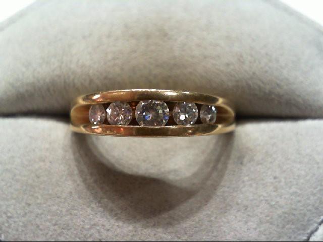 Lady's Diamond Wedding Band 5 Diamonds .49 Carat T.W. 14K Yellow Gold 4.7g
