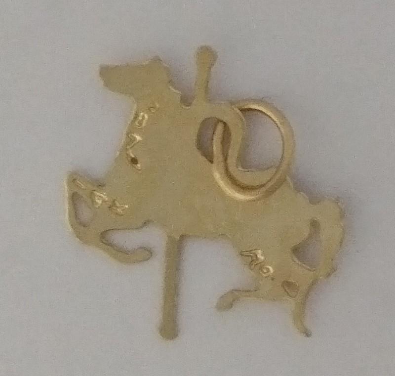 14K Yellow Gold Michael Anthony MA Diamond Cut Carousel Horse Charm Pendant 1987