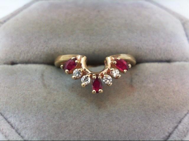 Ruby Lady's Stone & Diamond Ring 4 Diamonds .12 Carat T.W. 14K Yellow Gold 2.9g