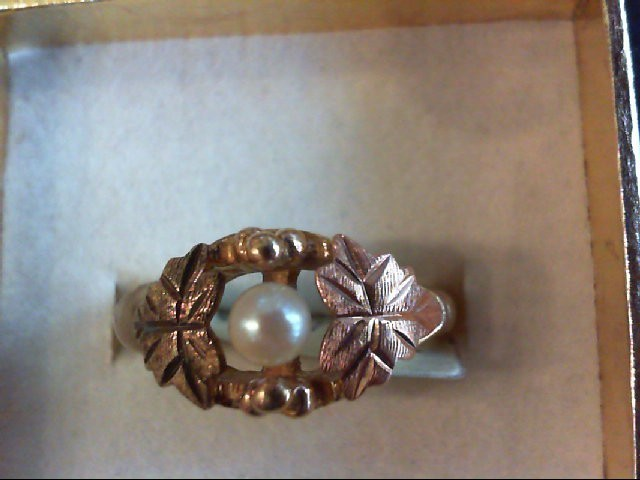 Synthetic Pearl Lady's Stone Ring 10K 2 Tone Gold 3.5g