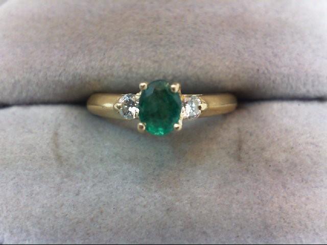 Emerald Lady's Stone & Diamond Ring 2 Diamonds .14 Carat T.W. 18K Yellow Gold