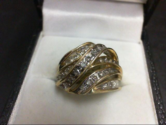 Lady's Diamond Cluster Ring 40 Diamonds 0.4 Carat T.W. 10K Yellow Gold 5.4g