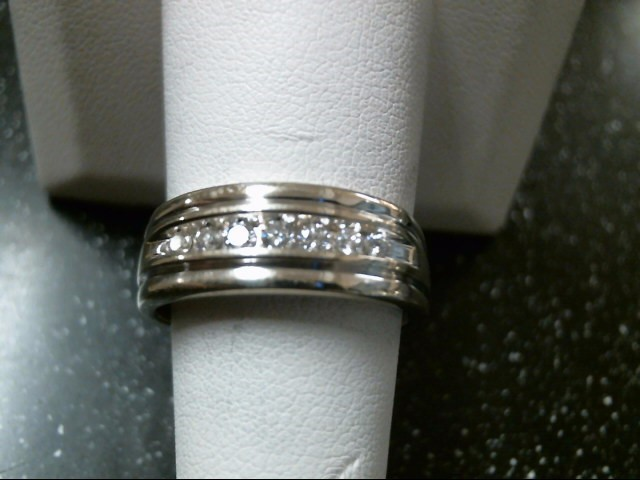 Gent's Gold-Diamond Wedding Band 7 Diamonds .24 Carat T.W. 14K White Gold 8g