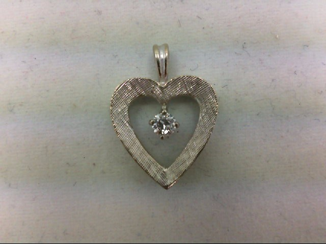 Gold-Diamond Solitaire Pendant 0.12 CT. 14K White Gold 1.1g