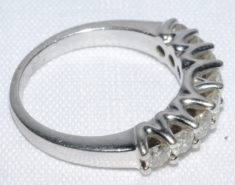 8 Diamond Wedding Stackable Band Ring 14K White Gold Size:7