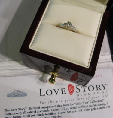 "Love Story ""Only You"" Engagement Ring, .61 ctw, White Gold, 14K, with COA"