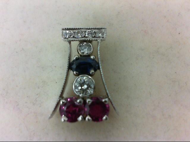 Ruby Gold-Diamond & Stone Pendant 6 Diamonds 0.28 Carat T.W. 14K White Gold 2.1g