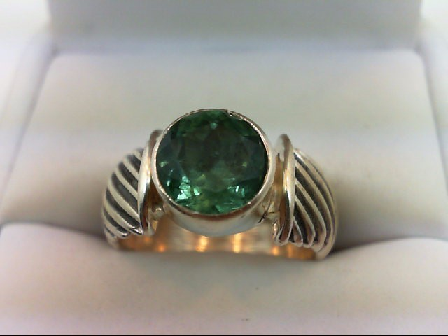 Synthetic Green Stone Lady's Silver & Stone Ring 925 Silver 6.3g Size:6.25