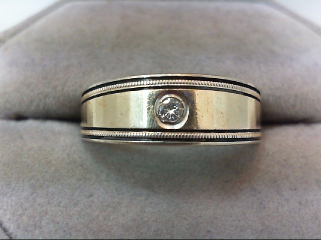 Gent's Gold-Diamond Wedding Band .10 CT. 14K Yellow Gold 5.1g