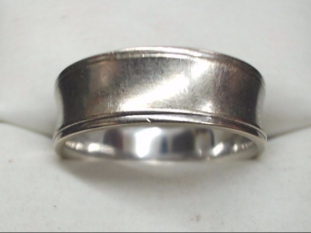 Gent's Gold Wedding Band 14K White Gold 5.9g Size:8
