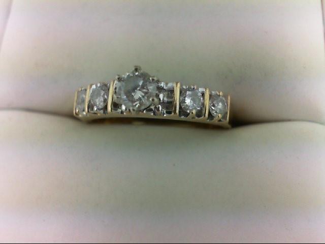 Lady's Diamond Engagement Ring 5 Diamonds 0.65 Carat T.W. 14K Yellow Gold 3.6g S