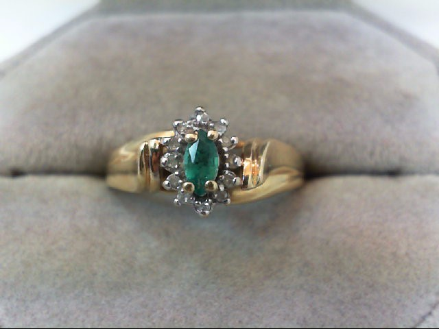 Emerald Lady's Stone & Diamond Ring 12 Diamonds .12 Carat T.W. 10K Yellow Gold