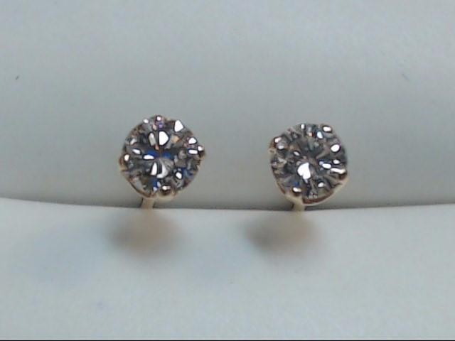 Gold-Diamond Earrings 2 Diamonds .20 Carat T.W. 14K Yellow Gold 0.4g
