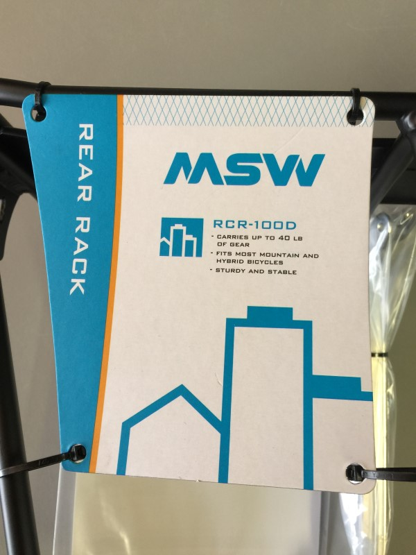 MSW RCR-100D REAR RACK FOR MOST HYBRID & MOUNTAIN BIKES NEW!
